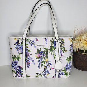 Dana Buchman White Floral Tote Bag 3 Compartment
